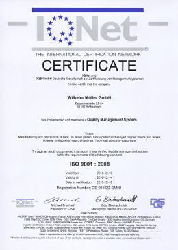 IQ-Net-Zertifikat ISO 9001:2008 für die Wilhelm-Müller-GmbH