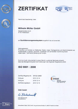 DQS-Zertifikat ISO 9001:2008 für die Wilhelm-Müller-GmbH